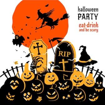 Счастливого хэллоуина тыквы с луной и летучими мышами ведьма векторный дизайн плоский векторный фон