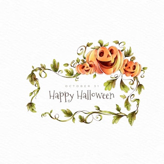 Happy halloween pumpkins and wreath of leaves