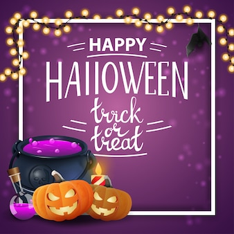 Happy halloween purple template with frame