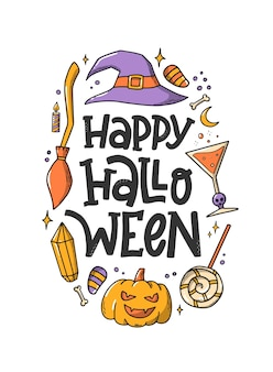 Happy halloween quote decorated with doodles