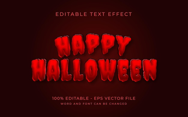 Happy halloween red text effect style editable text effect Premium Vector