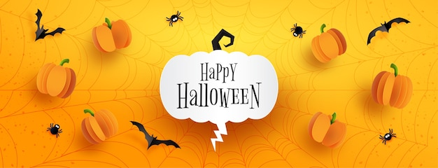 Happy halloween sale banner background template.halloween pumpkins and flying bats on spider web with orange background paper cut style.