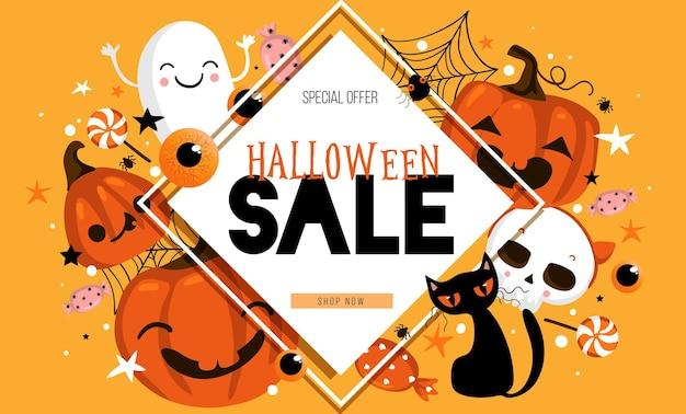 Счастливый хэллоуин продажи баннер или приглашение на вечеринку фон. векторная иллюстрация eps 10