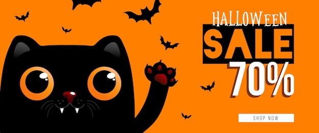 Happy halloween sale banner or party invitation background.vector illustration eps 10