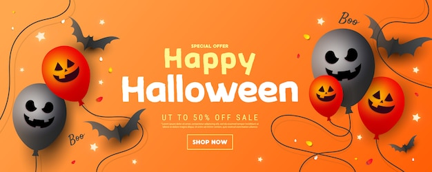 Happy halloween sale banner or poster with a scary muzzle balloons, a bat and stars