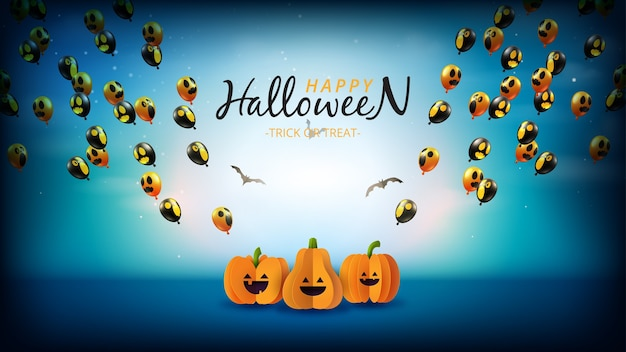 Happy halloween sale banner. spooky night with halloween pumpkins and flying ghost balloons.