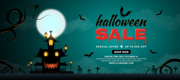 Happy halloween sale banner template haunted house and bats