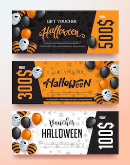 Happy halloween sale banner template with balloons design.