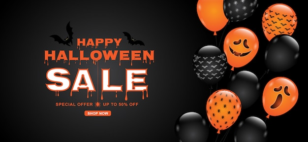 Happy halloween sale banner template