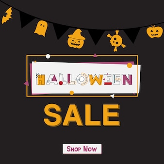 Happy halloween sale banner with lettering.