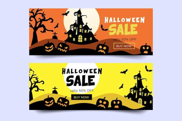 Счастливый хэллоуин продажа баннер с тыквами, летучими мышами и деревом