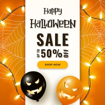 Happy halloween sale banner with scary air balloons, garland lights and spider web on orange
