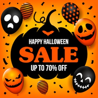 Happy halloween sale banner with scary balloons