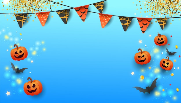 Happy halloween sale banner with text, symbols pumpkin, colored garlands and candy on gradient blue background