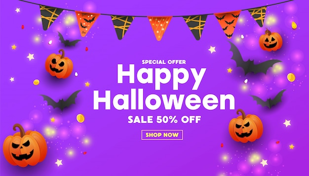 Happy halloween sale banner with text, symbols pumpkin, colored garlands and candy