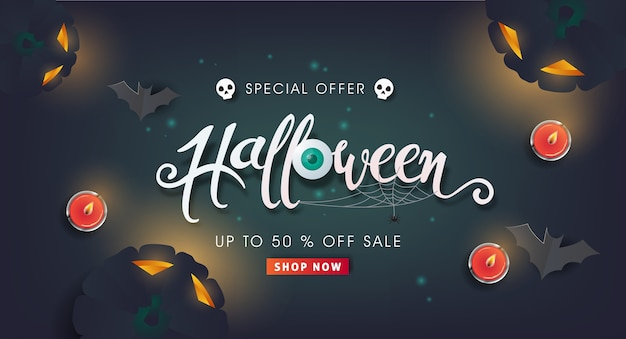 Happy halloween sale banners or party invitation background.calligraphy of