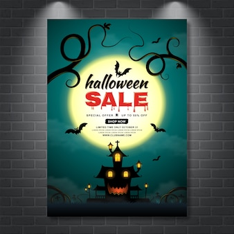 Happy halloween sale poster template haunted house and bats