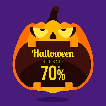Happy halloween sale promotion banner and special discount template design decorative with pumpkin isolated on purple background,