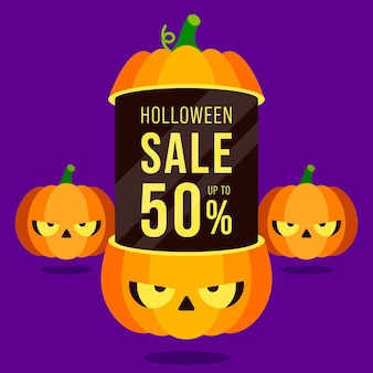 Happy halloween sale promotion banner and special discount template design decorative with pumpkins isolated on purple background