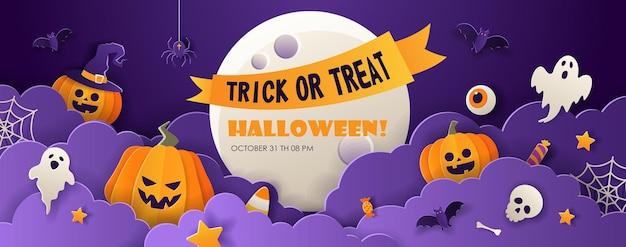 Счастливый шаблон рекламного баннера продажи хэллоуина с тыквами, летучими мышами и призраками на фиолетовом фоне. фон в стиле вырезки из бумаги с местом для текста. векторная иллюстрация