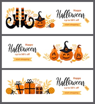 Happy halloween sale set vector horizontal banner for advertising banner poster flyer