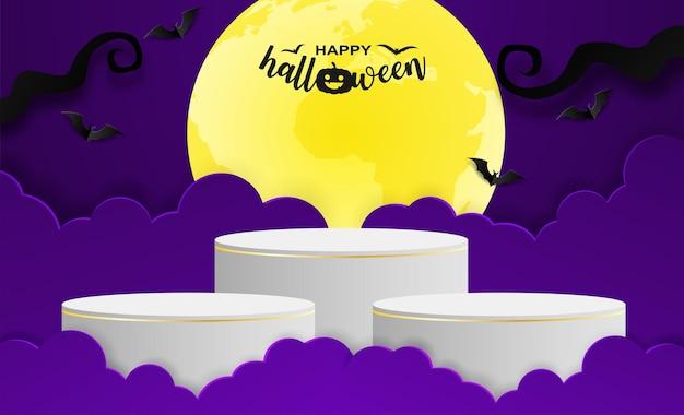 Счастливый подиум дисплея продукта темы продажи хеллоуина. дизайн с битой на фиолетовом фоне. бумажный художественный стиль. вектор.