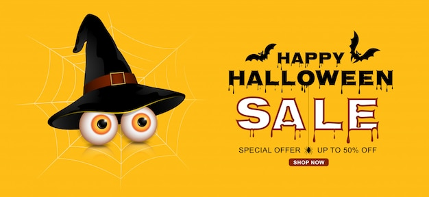 Happy halloween sale trick or treat banner