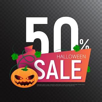 Счастливый хэллоуин продажи вектор баннер или шаблон дизайна наклейки с листьями и тыквой. отлично подходит для дизайна вашего веб-сайта или печатных публикаций