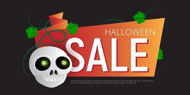 Счастливый хэллоуин продажи вектор баннер или шаблон дизайна наклейки с листьями и череп. отлично подходит для дизайна вашего веб-сайта или печатных публикаций