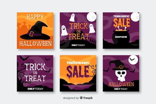 Счастливые продажи хэллоуина для поста коллекции социальных медиа