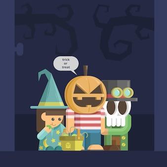 ハッピーハロウィン怖い黒と青のカードデザイン