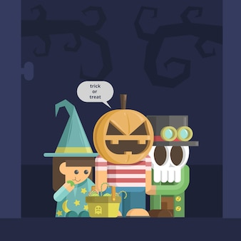 Happy halloween scary black and blue card design