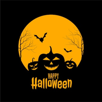Happy halloween spaventoso cartellino giallo e nero