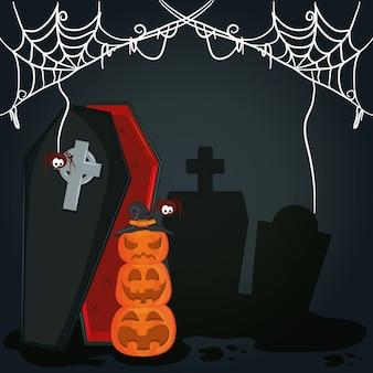 Happy halloween scary night cartoon