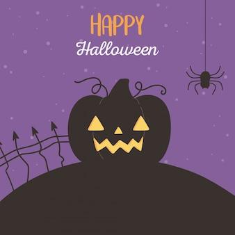 해피 할로윈, 무서운 호박과 거미 트릭 또는 치료 파티 축하 벡터 일러스트 레이션