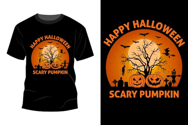 Happy halloween scary pumpkin t-shirt mockup design vintage retro