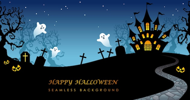 Happy halloween  seamless background illustration with haunted mansion, cemetery, and text space.