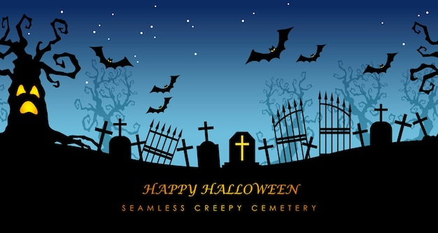 Happy halloween seamless cemetery with text space