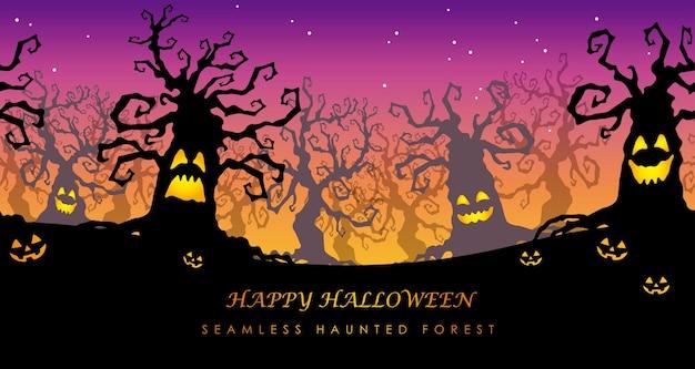 Happy halloween seamless haunted forest illustration