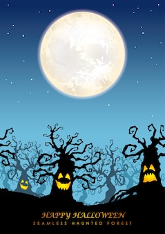 Happy halloween seamless haunted forest with the moon