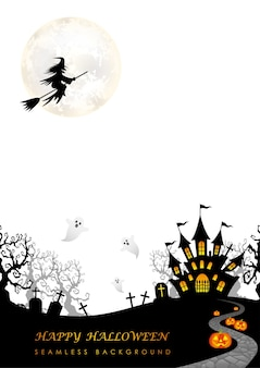 Happy halloween seamless illustration with the moon