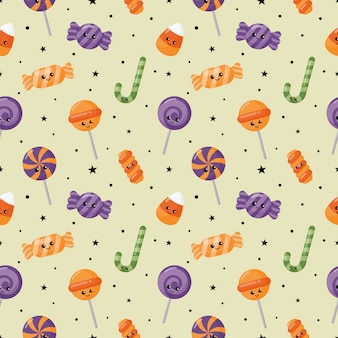 Happy halloween seamless pattern and cartoon candies isolated on white