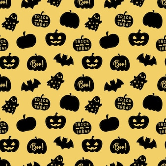 Happy halloween seamless pattern on gold background.