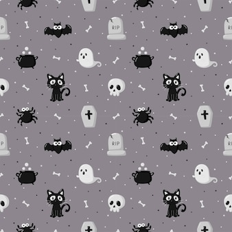 Happy halloween seamless pattern on gray background