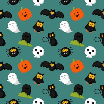 Happy halloween seamless pattern on green background.