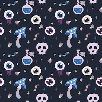 눈 물약 두개골 버섯 사탕 해피 할로윈 원활한 패턴 일러스트