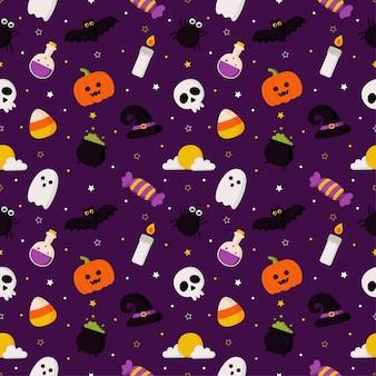 紫色の背景に幸せなハロウィーンのシームレスなパターン。