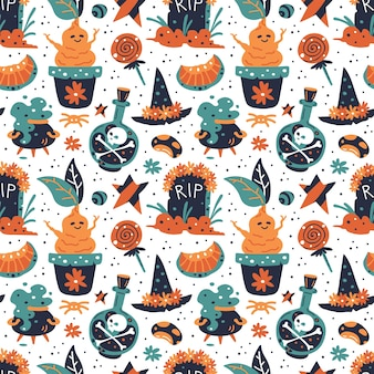 Happy halloween seamless pattern. witch hat with flowers, sweets, skull, tomb, star, pumpkin, bean, mandrake, cauldron, poison bottle.