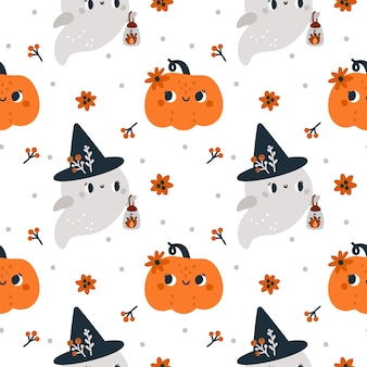 Happy halloween seamless pattern with cute kind ghosts in witch hat and pumpkins