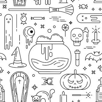 Happy halloween. seamless pattern with icons.